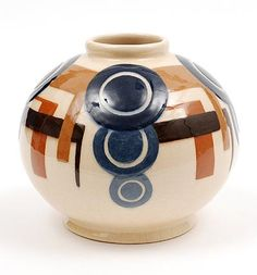 Glazed earthenware vase with polychrome Art Deco decoration design Simone Larrieu 1912-1996 France ca.1930