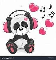 Image result for panda with earphones clipart