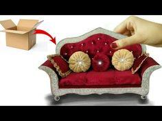 Diy Doll Sofa, Diy Sofa, Miniature Dollhouse Furniture, Miniature Crafts, Fairy Furniture, Doll Furniture, Hobbies And Crafts, Crafts For Kids, My Doll House