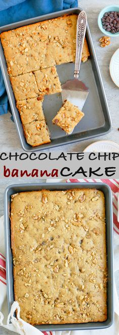 chocolate chip snack cake | banana snack cake | banana chocolate cake | banana cake bars | chocolate chip cake recipe | chocolate chip cake bars