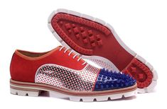 Christian Louboutin Crapamale Leather Blue Spike Men Loafers