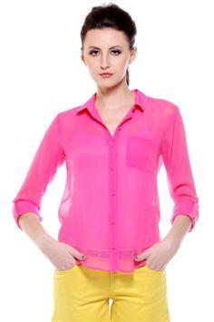 Fashion My Day : Fuschia Pink Single Patch Pocket Shirt