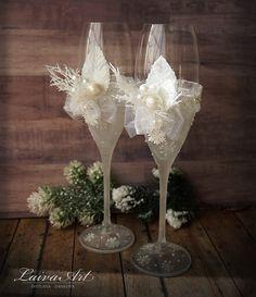 Wedding Champagne Glasses Winter Wedding Christmas Wedding Holiday Wedding Champagne Flutes by LaivaArt on Etsy