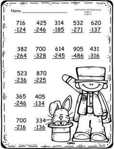 3 digit Additon and Subtraction with. by Lori Flaglor Math Division Worksheets, 2nd Grade Math Worksheets, Printable Math Worksheets, Math Exercises, Math Drills, Math Pages, Math Subtraction, Math Sheets, Math Books