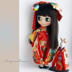 Kyohiroカスタムブライス☆アンティーク古布の振袖☆兎人形♪_画像3