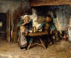 """Cottage Interior"" by Bernardus Johannes Blommers (1845 - 1914)"