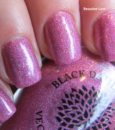 Black Dahlia Lacquer Vibrant Poinsettias, from the Holiday Micro Glitter Collection, 3 coats with top coat
