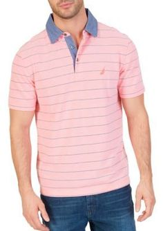 Nautica Men's Classic Fit Striped Polo Shirt - Pale Coral - 2Xl