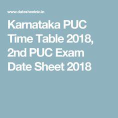 Karnataka PUC Time Table 2018, 2nd PUC Exam Date Sheet 2018