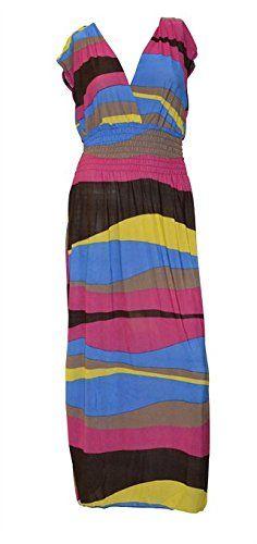 Belle Donne - Exotic Gorgeous Tahiti Maxi Long Dress With Multicolor Border Print - Fuschia Wave Print / L Belle Donne http://www.amazon.com/dp/B00KMDN58E/ref=cm_sw_r_pi_dp_-jxPvb02CEACP