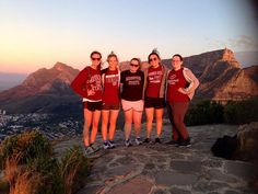 MSU child life students represent the maroon and white during a short-term study away trip to Cape Town, South Africa. Bears pictured include (left-right) Ruth McQuerry, Caroline Boone, Katie Higgins, Nancy Her and Afton Bradley.