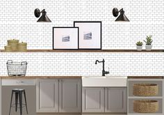 I like this mix of gray cabinets, white tile, and barnwood for the kitchen