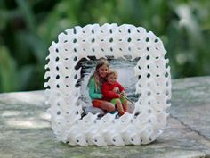 Gyroid Photo Frame in White Strong & Flexible Polished