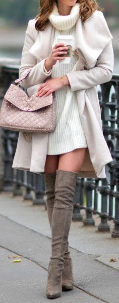 #fall #outfits / turtleneck knit dress + OTK boots