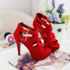 Red high heels sandals for women Rome style
