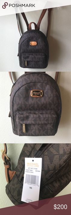 286cda8aa4d3 Shop Women s Michael Kors Brown size Extra small Backpacks at a discounted  price at Poshmark. Description  Brand  Michael Kors Jet Set Item Xs Back  Pack ...
