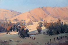 "Ross Paterson oil- ""Sheans Creek"" Watercolor Landscape, Landscape Art, Landscape Paintings, Watercolour, Landscapes, Australian Artists, Art Techniques, Painting Inspiration, Grand Canyon"