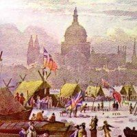 Thames Frost Fairs. Between 1600 and 1814 it was not uncommon for the River Thames in London to freeze over for up to two months at a time. There were two main reasons for this, first was that Britain was locked in what is now known as the Little Ice Age. The other catalyst was the medieval London Bridge and it piers, and specifically how closely spaced together they were. During Winter, pieces of ice would get lodged between the piers and effectively dam up the river, more info here