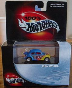 Hot Wheels 1966 VW Bug 100% Collectable Edition 1:64 Scale Die Cast Car by Mattel. $17.00. Multi-piece Collector Quality Car. 1:64. Includes Display Case. 100% Hot Wheels - Cool Collectibles - 1966 VW Bug - Collector #14 - 2002
