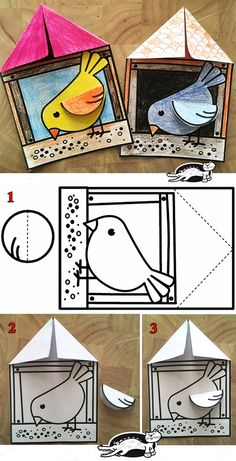 Winter Crafts For Kids Winter Art Projects, Winter Crafts For Kids, Spring Crafts, Diy Crafts For Kids, Art For Kids, Bird Crafts, Animal Crafts, Paper Crafts, Kindergarten Art