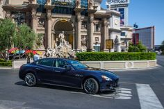 "Driving around the city, the #newQuattroporte displays all the shades of its ""Blu Passione"" finish. #LasVegas"