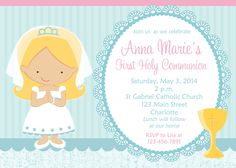 First Holy Communion Invitation religious por TheButterflyPress