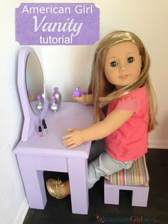 This American Girl Bathroom Vanity is quick and easy to build. My doll loves her vanity and enjoys painting her nails on it! This is a fun weekend project.