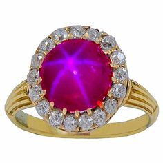 Beautiful diamond and gorgeous pink sapphire ring. circa 1830