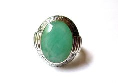 HSN Nicky Butler Green Corundum Sterling Silver Filegree Ring