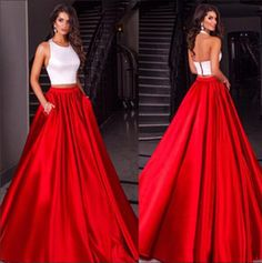 Cheap Modest 2016 Two Pieces White Red Satin Prom Dresses Evening Party Sleeves Wedding Party Gown
