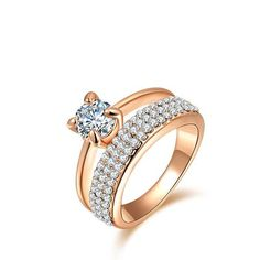 gold plated, anillos ,wedding rings, Austrian crystal Environmental Micro-Inserted Jewelry