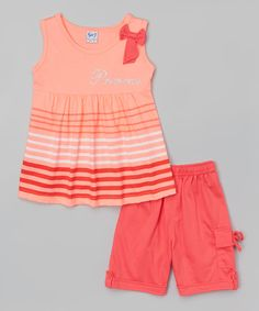 Another great find on #zulily! Coral 'Princess' Tank & Bermuda Shorts - Toddler & Girls by G&J Relations #zulilyfinds