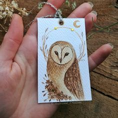 SOLD 🌿 Original Barn Owl bookmark painted with coffee and golden acrylic on canson paper 300g/m². Siz