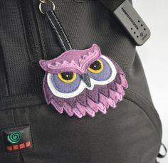 Owl Bag Charm / Keychain / Keyring / Ornament / Zipper Pull - Purple Shades Wool Mix Felt - Handmade Gift Box via Etsy