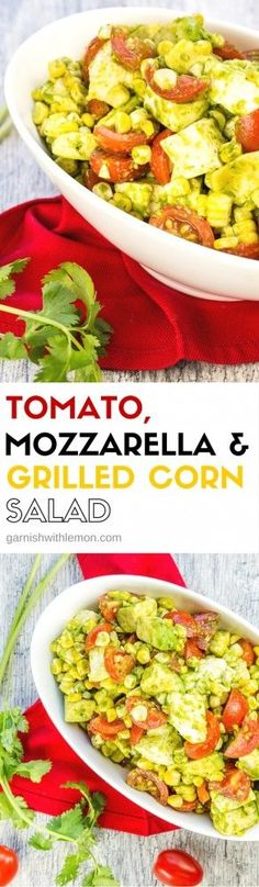 This Tomato, Mozzarella and Grilled Corn Salad recipe with creamy avocado and a tangy cilantro dressing is a summer side dish favorite for any BBQ!: