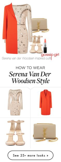 """""""Serena van der Woodsen inspired outfit/GG"""" by tvdsarahmichele on Polyvore featuring Yves Saint Laurent, Temperley London, McQ by Alexander McQueen, Giuseppe Zanotti and MAC Cosmetics"""