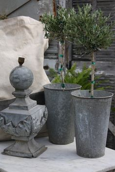 Create gorgeous French country farmhouse style using faux olive tree topiaries from SIlk Plants Direct. Beautiful and realistic olive trees will add classic and chic elegance to your decor. Faux Olive Tree, Jardin Decor, French Country Farmhouse, Country Patio, French Cottage, Farmhouse Style, Decoration Plante, Galvanized Metal, Garden Styles
