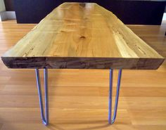 Live Edge Maple Coffee Table with Hairpin Legs by OzmaDesign