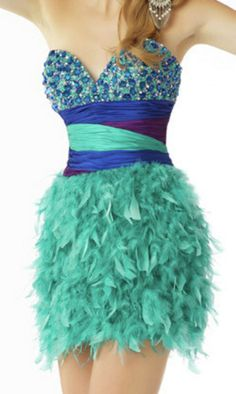 Feather Skirt Sequin Embellished Waist Short Strapless Sweetheart Red Prom Dress