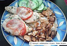 Nyári mozzarellás csirkemell és csicsókachips Mozzarella, Pork, Chicken, Kale Stir Fry, Pork Chops, Cubs