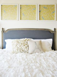 I love these frames. Framing fabric is such a cute and inexpensive idea.