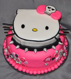 Perfect Hello Kitty cake for the punk rocker princess in your life
