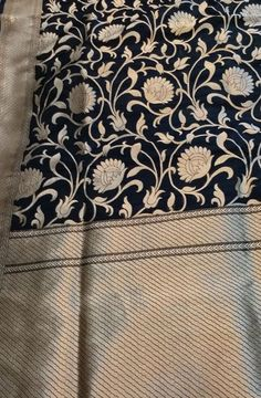 Black Handloom Banarasi Katan Silk Saree    #banarasisilksaree# Banarsi Saree, Handloom Saree, Textile Patterns, Textile Design, Katan Saree, Black Saree, Fancy Sarees, Pure Silk Sarees, Historical Costume