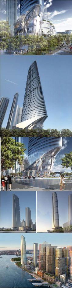 Crown Hotel Sydney; Barangaroo - Design Proposal by Adrian Smith + Gordan Gill Architects