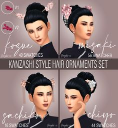 Sims 4 Mm Cc, Japanese Hairstyle, Sims 4 Cc Finds, Sims 4 Clothing, Sims Mods, The Sims4, Sims 4 Custom Content, Hair Ornaments, Hair Accessories