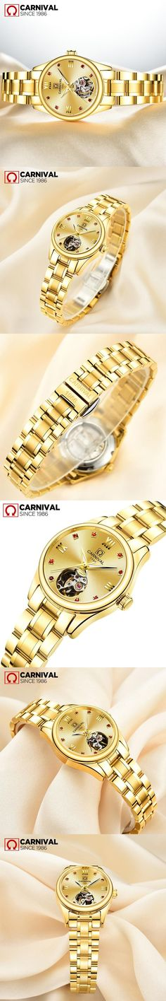 Carnival Luxury Full Gold Hollow Automatic Mechanical Wrist Watches Watches For Women Dress Casual Clock Ladies Fashion Watch