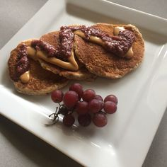 PB&J Oatmeal Flax Vegan Pancakes with recipe for vegan buttermilk! (The College Vegan)