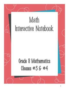 Grade 8 Math Interactive Notebook- Has input (notes) and output (reflection/practice problem) sides, grading rubric.