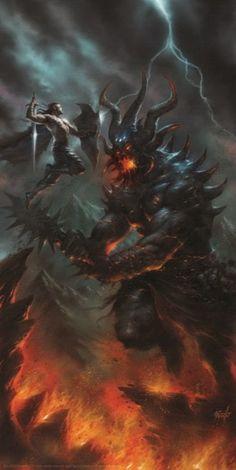 Lucio Parrillo, Fingolfin Morgoth Morgoth, Glorfindel, Anime Fantasy, Dark Fantasy, Cool Monsters, Fantasy Warrior, Medieval Fantasy, Sci Fi Art, Fantasy Artwork