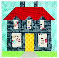 A sweet little house block by Elizabeth | Don't Call Me Betsy.  Quiltmaker's 100 Blocks block pattern by Lori Holt.